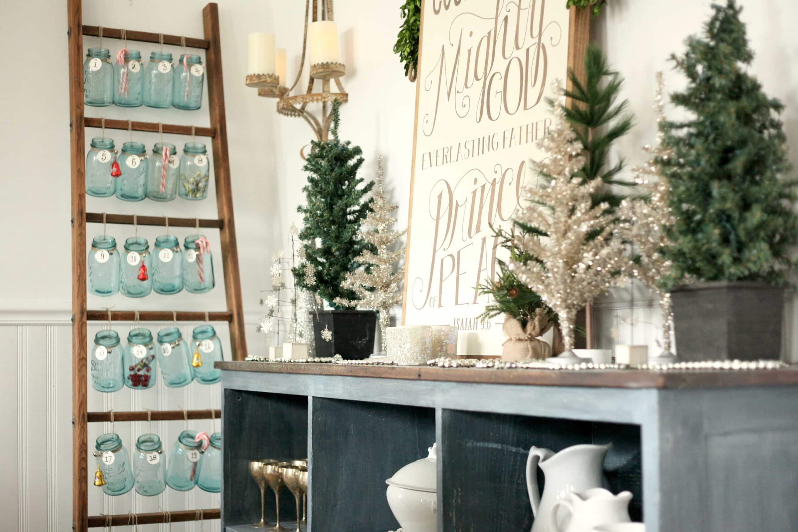 beautiful christmas decor using a vintage ladder for a mason jar advent calendar so festive