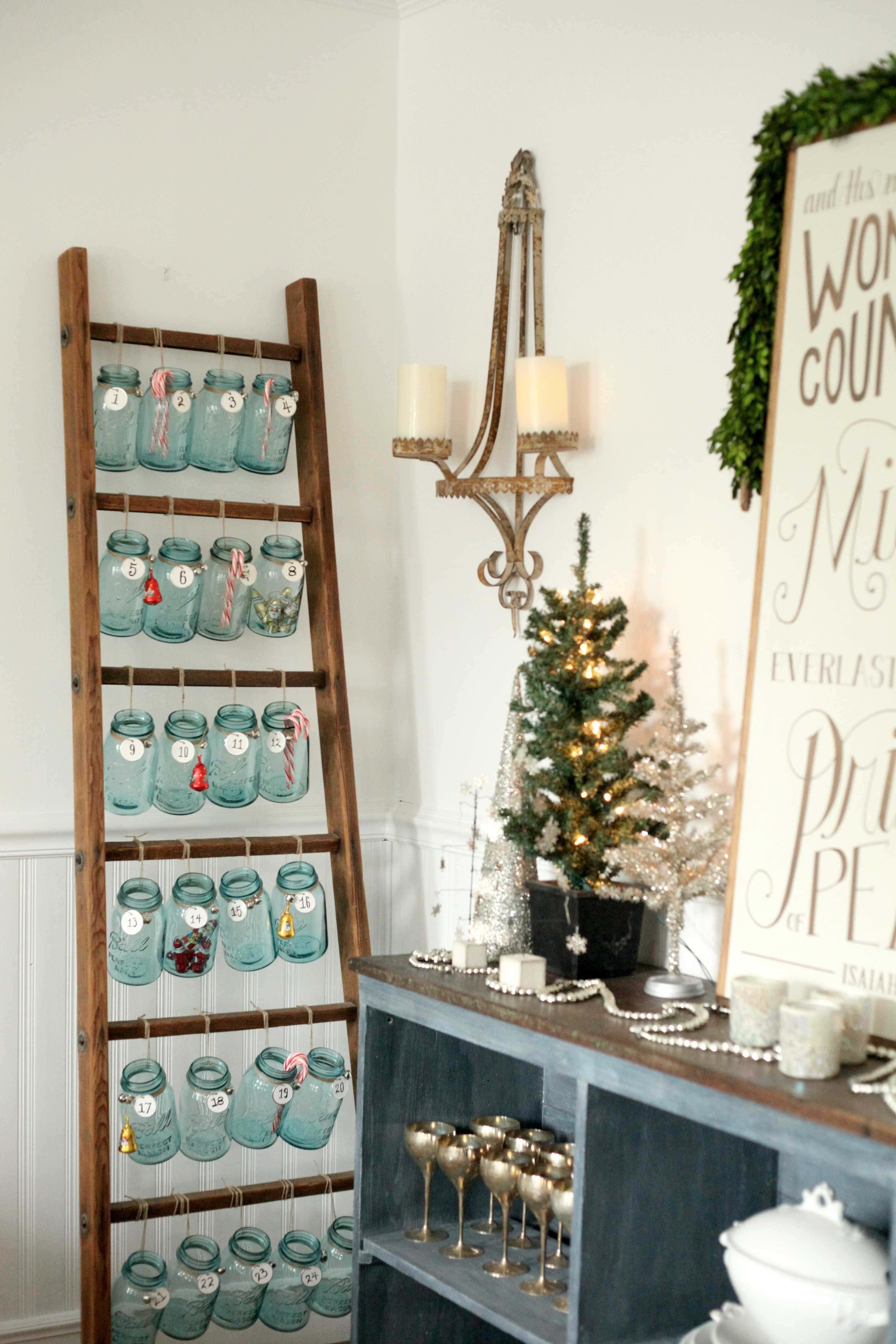 Antique Ladder and Mason Jar Advent Calendar