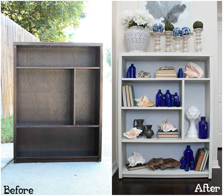 Got an old bookcase that needs to be updated? Checkout how this bookcase went from boring to fabulous with just a few easy steps! See more on http://ablissfulnest.com/ #bookcasemakeover #diybookcase #chalkfurniturepaint