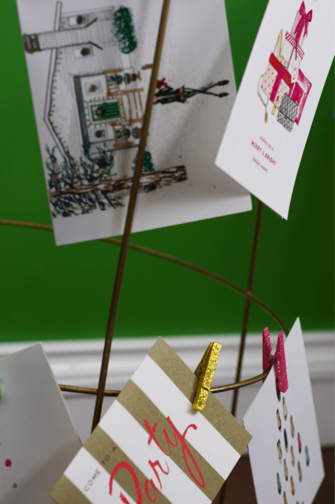 Make this super simple DIY holiday card holder to display the cards you receive from your friends and loved ones. See more at https://ablissfulnest.com/ #Christmas #ChristmasCards #Holidays