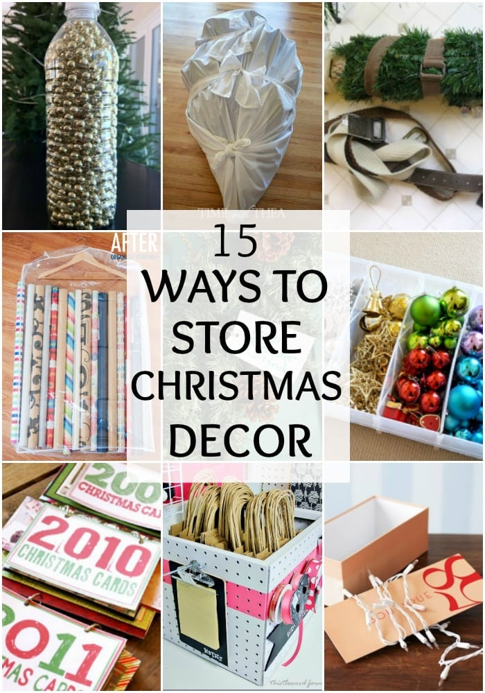If you haven't put away your Christmas decorations yet, check out these 15 Ways to Store Christmas Decor. Christmas Decor Storage to eliminate headaches next year! See it all at https://ablissfulnest.com/ #ChristmasDecor #Storage #Organization