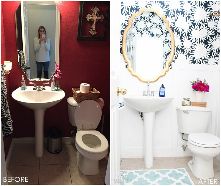 This is such a huge transformation on this bathroom with not many updates. Checkout how with a few simple changes you can get a wow factor bathroom remodel. See more on http://ablissfulnest.com/ #bathroomremodel #bathroommakeover #ad #deltafaucet #deltaliving