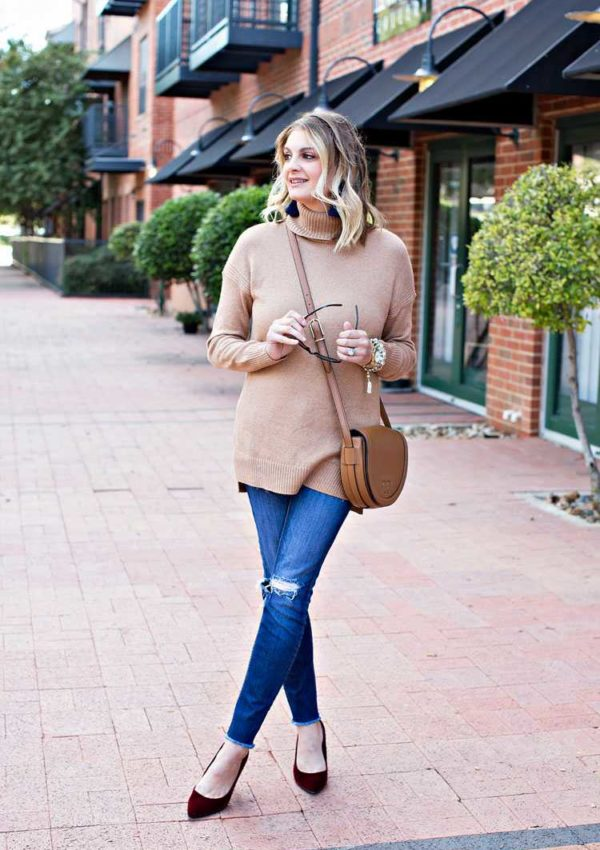 What I Wore: Winter Camel + Burgundy and Navy Color Pops