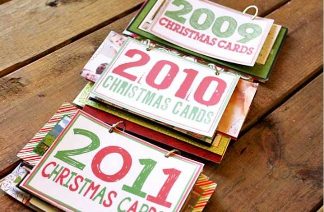 Christmas Decor Storage solutions - keep precious christmas cards organized with this creative season.