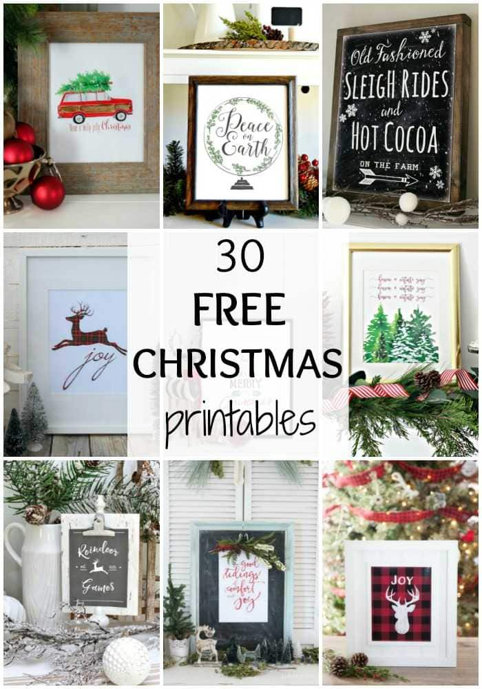 One of the simplest ways to decorate a space for the holidays is with printables! I LOVE these 30 Free Christmas Printables, and hope you do too! See them all at https://ablissfulnest.com/ #FreePrintables #ChristmasDecor #ChristmasPrintables