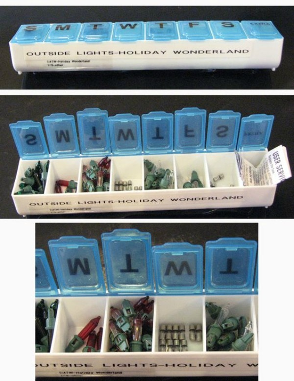 Christmas Decoration Storage solutions - organize christmas lights spare lightbulbs with pill organizers.