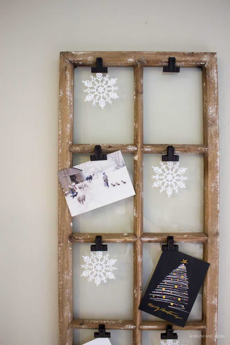 Vintage Window Christmas Card Display Idea by A House and A Dog
