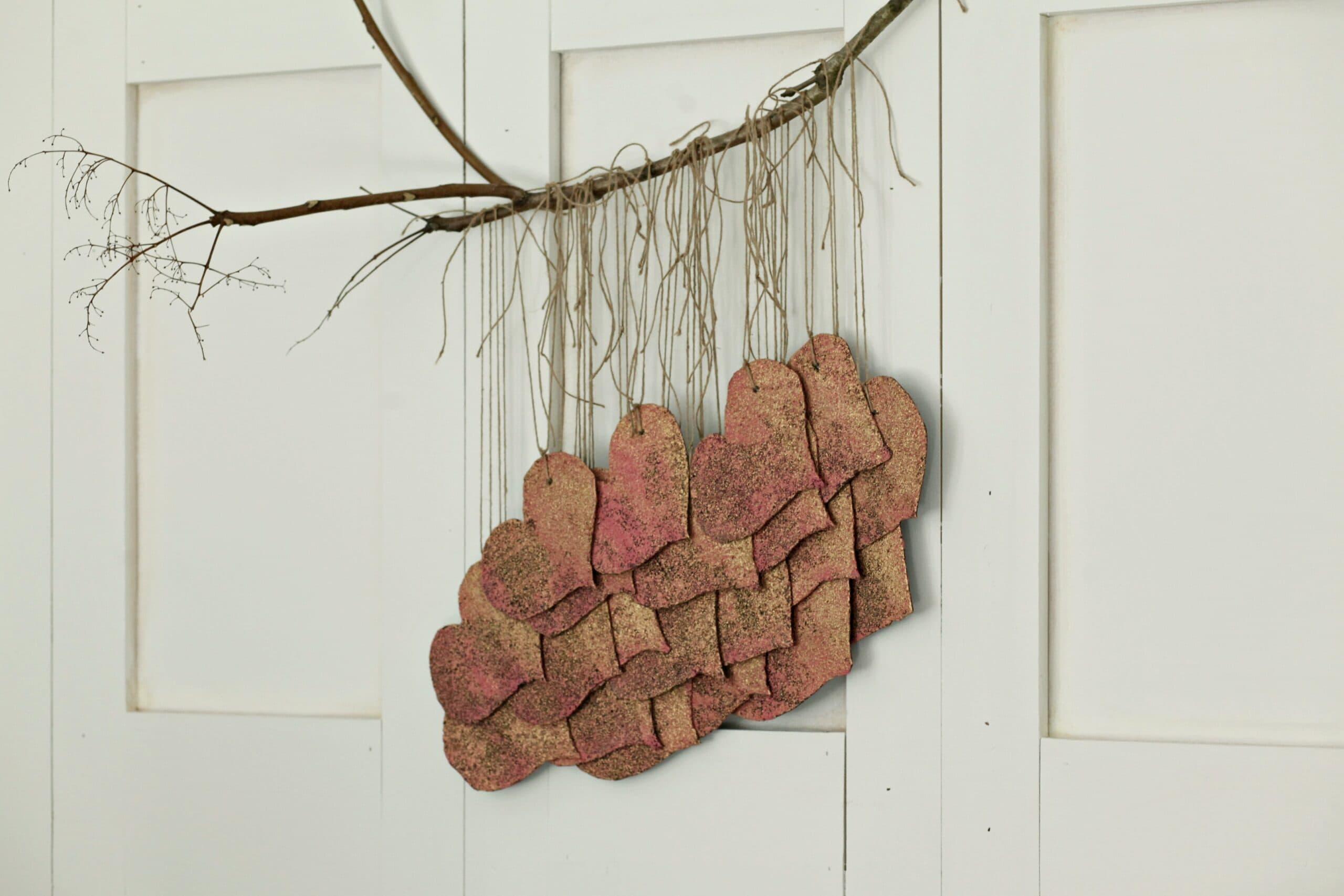 Whimsical Boho Hearts Wall Hanging