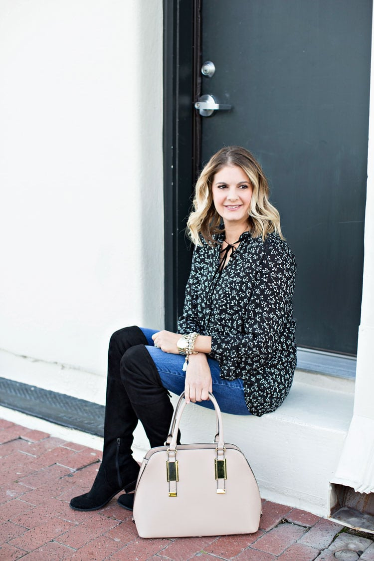 What I Wore: Black & White with Pops of Blush