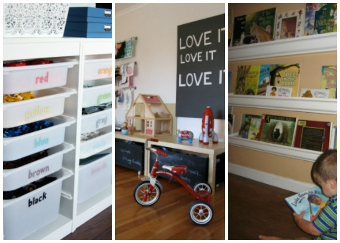 These are THE BEST playroom organization ideas! So many ideas to get your kids toys corralled and organized. See more on https://ablissfulnest.com/ #playroomorganization #organizationideas