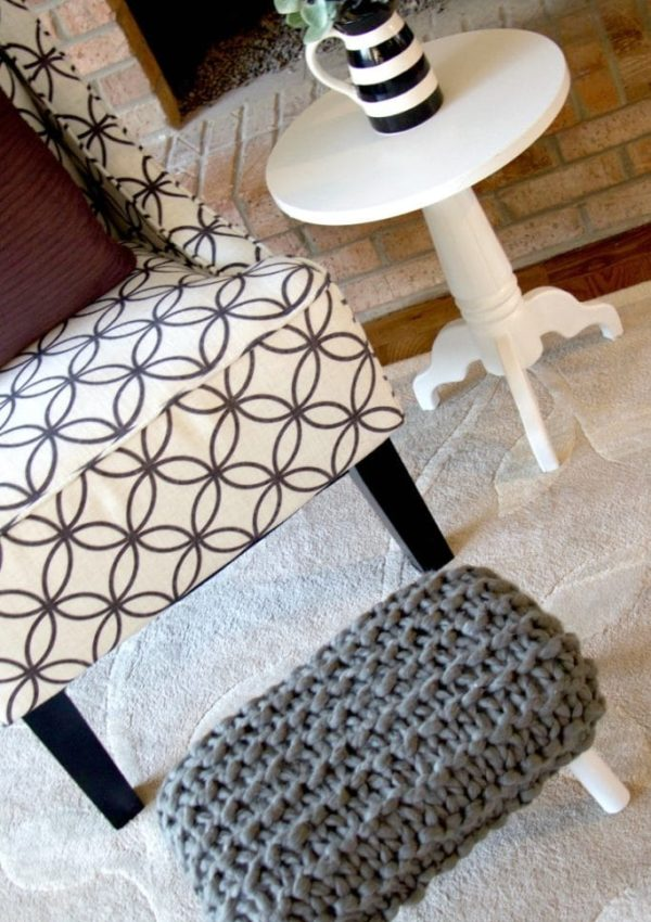 DIY Chunky Knit Footstool Tutorial