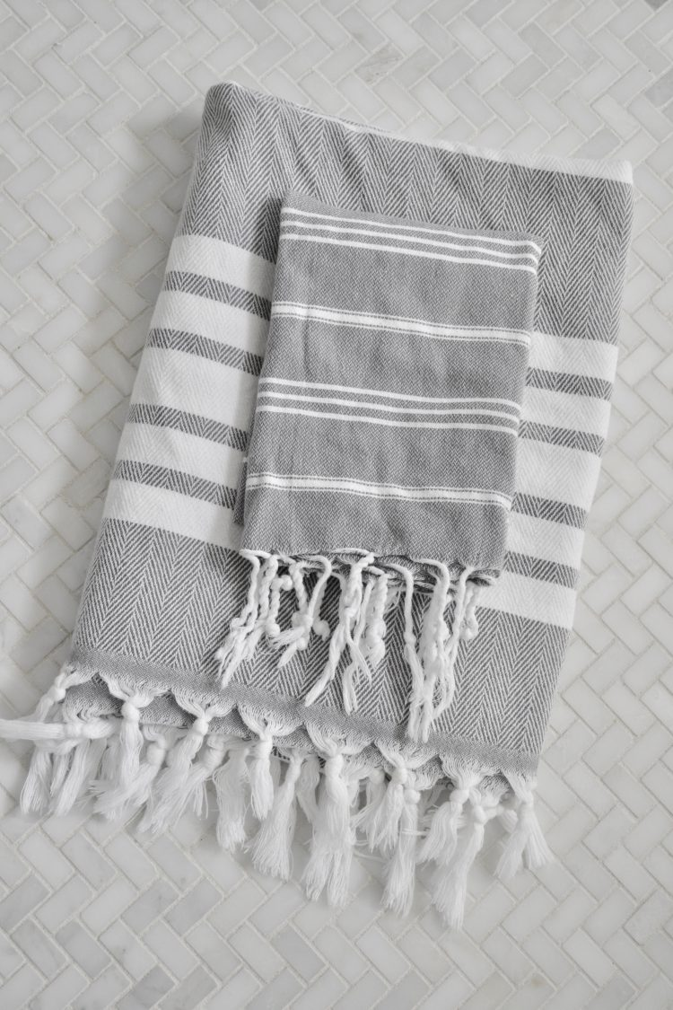 New linens will refresh your home and give you a clean feel! These cool toned grey and white striped hand towels will add simplicity to your home.