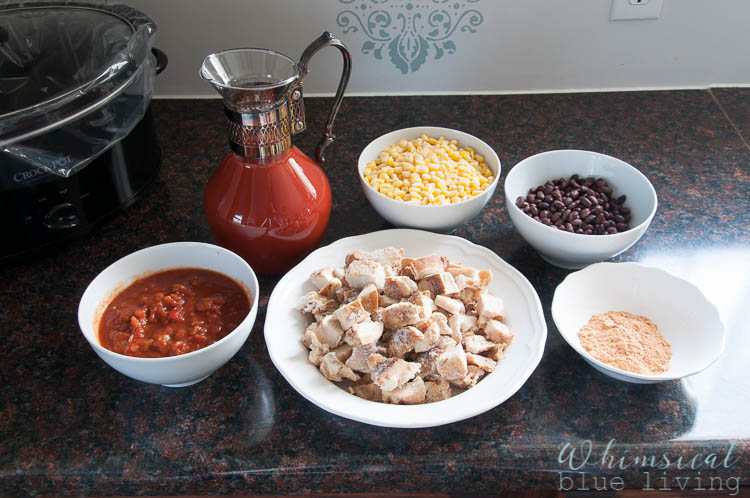 This is an Easy and Healthy Crock Pot Chicken Taco Soup Recipe is AMAZING! See the recipe at https://ablissfulnest.com/ #Soup #CrockPotRecipes #SlowCooker