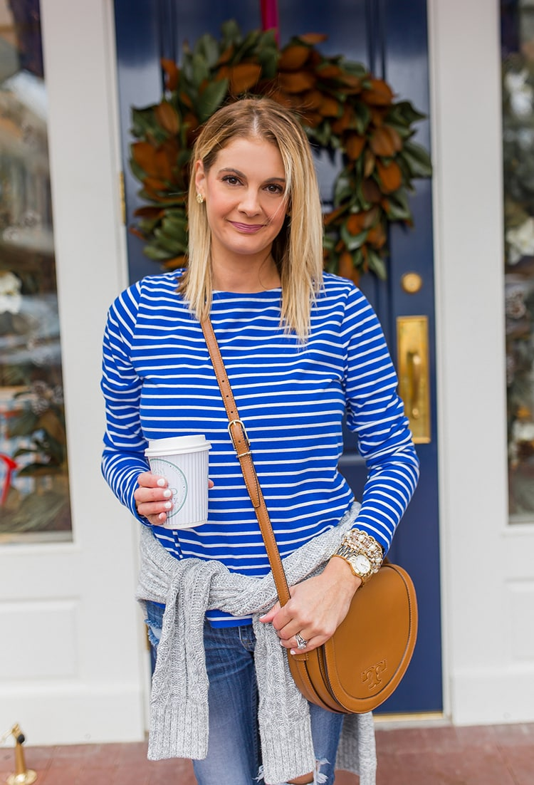 Blue and white outfit details to transition from winter to spring.
