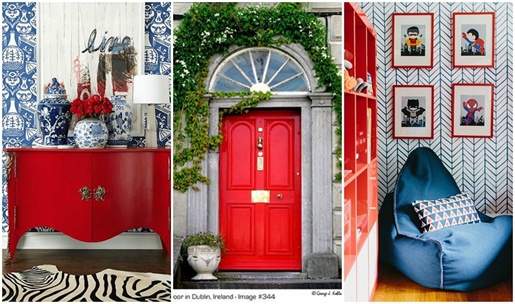 Do you love the color red but don't know how to add it into your home decor? We've got design tips just for you on how to use red in your home and paint colors to choose from. Check out A Blissful Nest for more details. http://ablissfulnest.com/ #designtips #interiordesign #reddecor #paintcolor #redpaintcolor