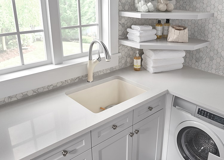 These are great tips on using sinks in a laundry room! Sinks aren't just for the kitchen anymore! @Blanco #ad #laundryroomideas #blanco