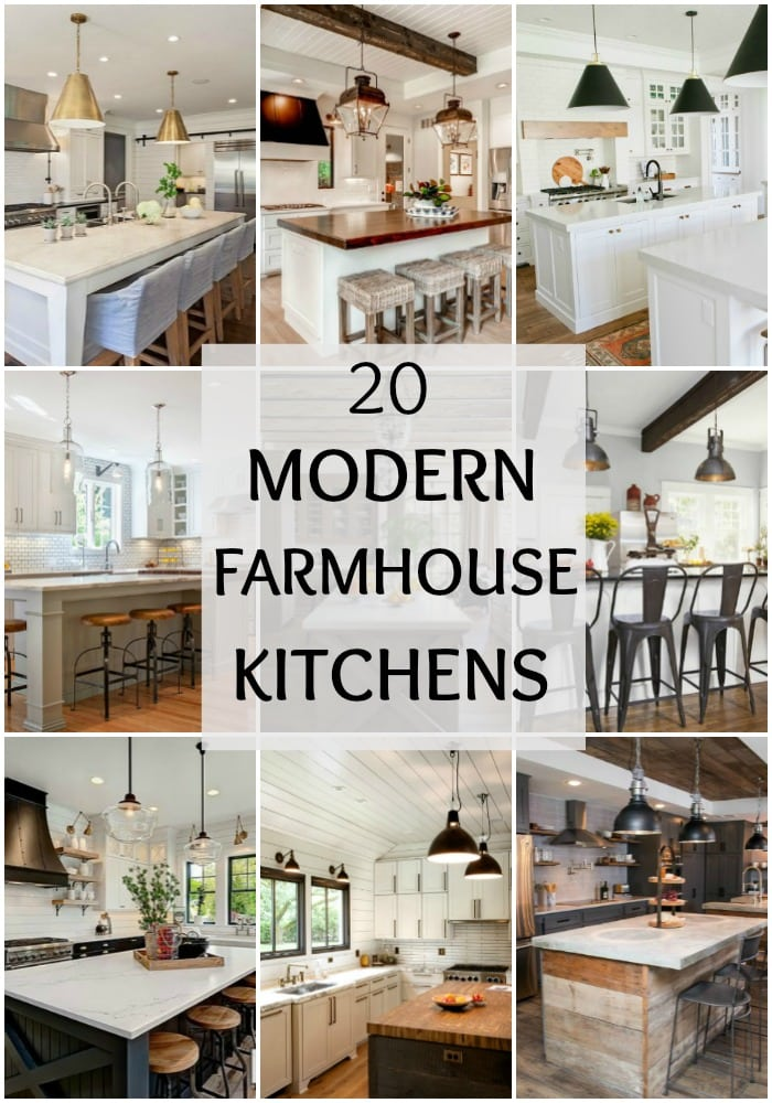 Tour these 20 modern farmhouse kitchens to understand how the farmhouse style really does work well with modern decor, especially to get Fixer Upper style. #kitchen #kitchendesign #farmhousekitchen #kitchencabinets #farmhouse #farmhousestyle