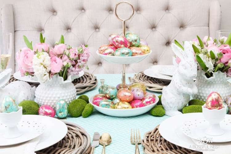 Bright colorful easter table decor ideas with pops of gold