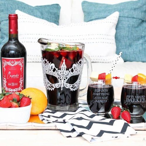This is such a delicious sangria drink recipe celebrating Girl's Night In and the release of Fifty Shades Darker movie on dvd! See more on https://ablissfulnest.com/ #ad #drinkrecipe #FiftyShadesDarker