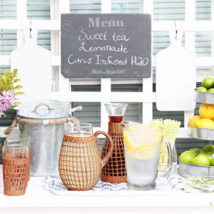 Backyard Entertaining + Outdoor Drink Station Idea
