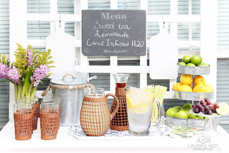 Create this outdoor drink station with these tips for perfect backyard entertaining this spring + summer! #ad #TuesdayMorning
