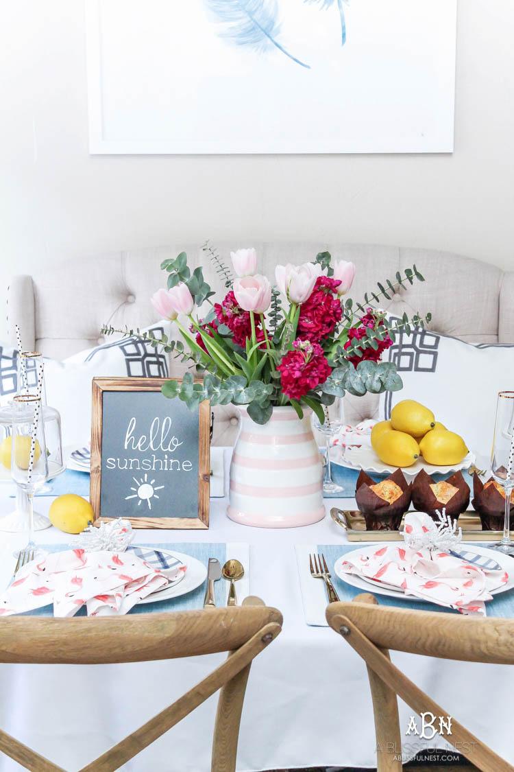 Brunch Tablescape Idea with Soft Summer Pastel Decor