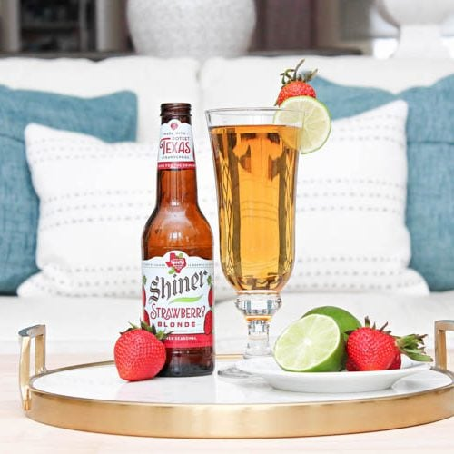 This is such a delicious beer cocktail recipe! Love the mix of strawberries and lime. See more on http://ablissfulnest.com/ #ad #totalwine #cocktailrecipe