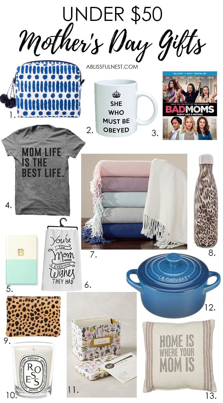 Get great Mother's Day gift ideas with this list of items all under $50! See more on https://ablissfulnest.com/ #mothersday