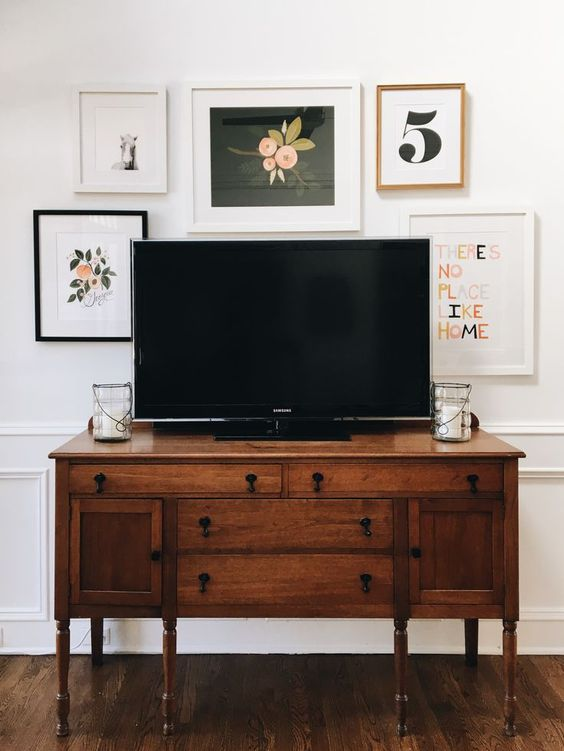 How To Decorate Around The Tv With A Tv Gallery Wall A Blissful Nest