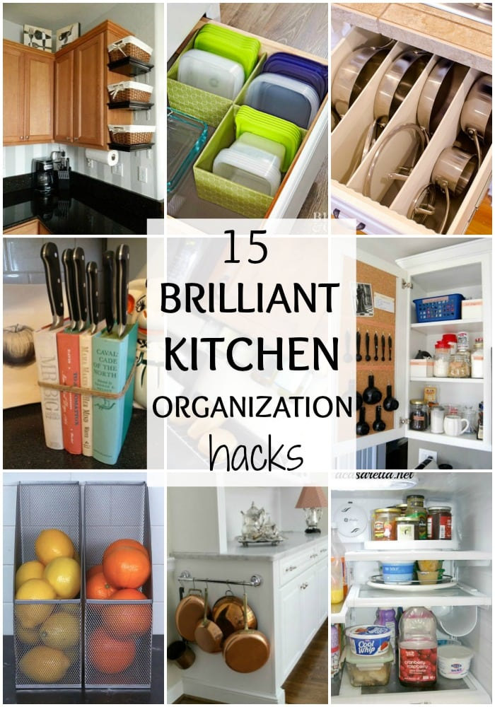 These are the most brilliant kitchen organization hacks ever! See more on https://ablissfulnest.com/ #kitchenorganization #organizationideas #kitchenhacks