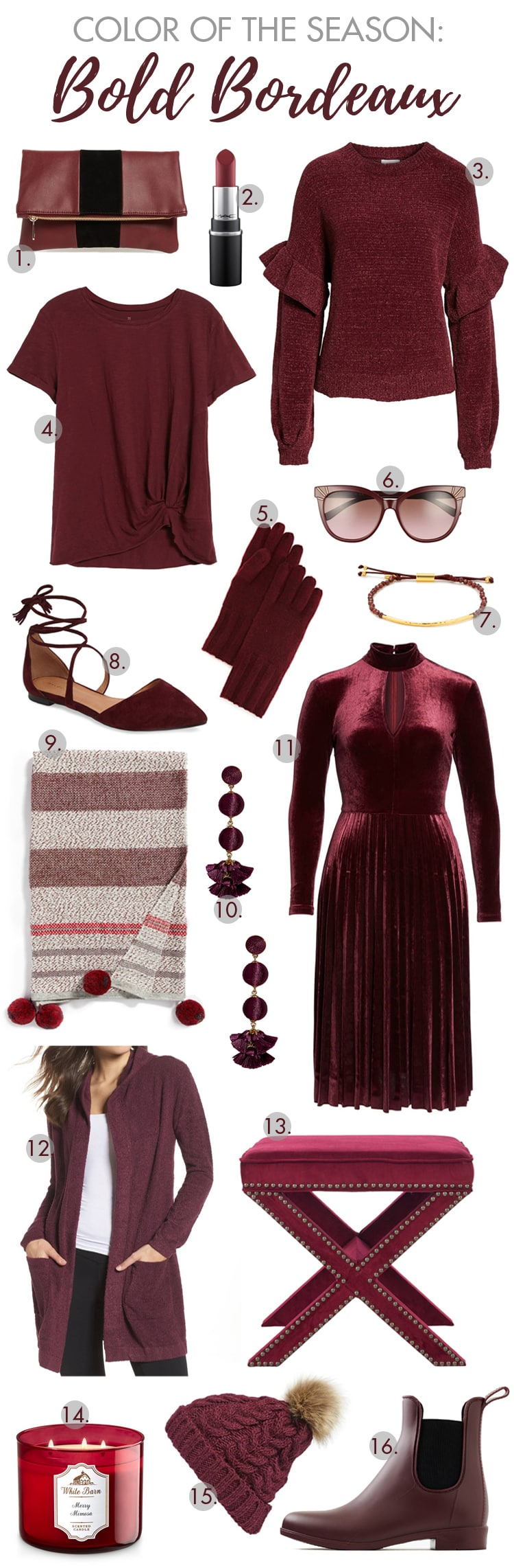 Snag our favorite items from this year's seasonal color crush Bordeaux! #bordeaux #burgundy #falldecor #falloutfit