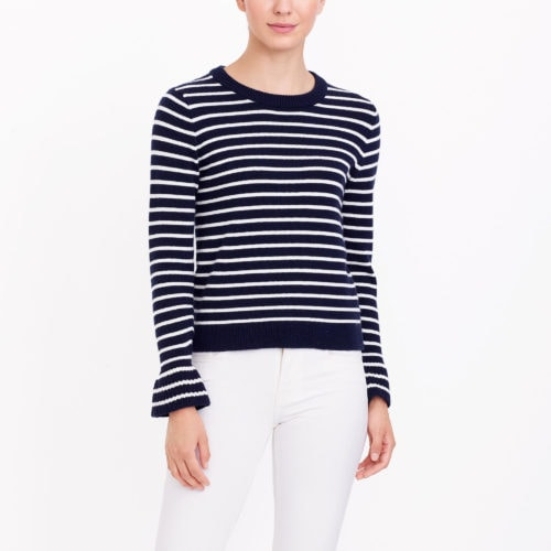 Stripes + Ruffle Sleeves! Love this sweater!