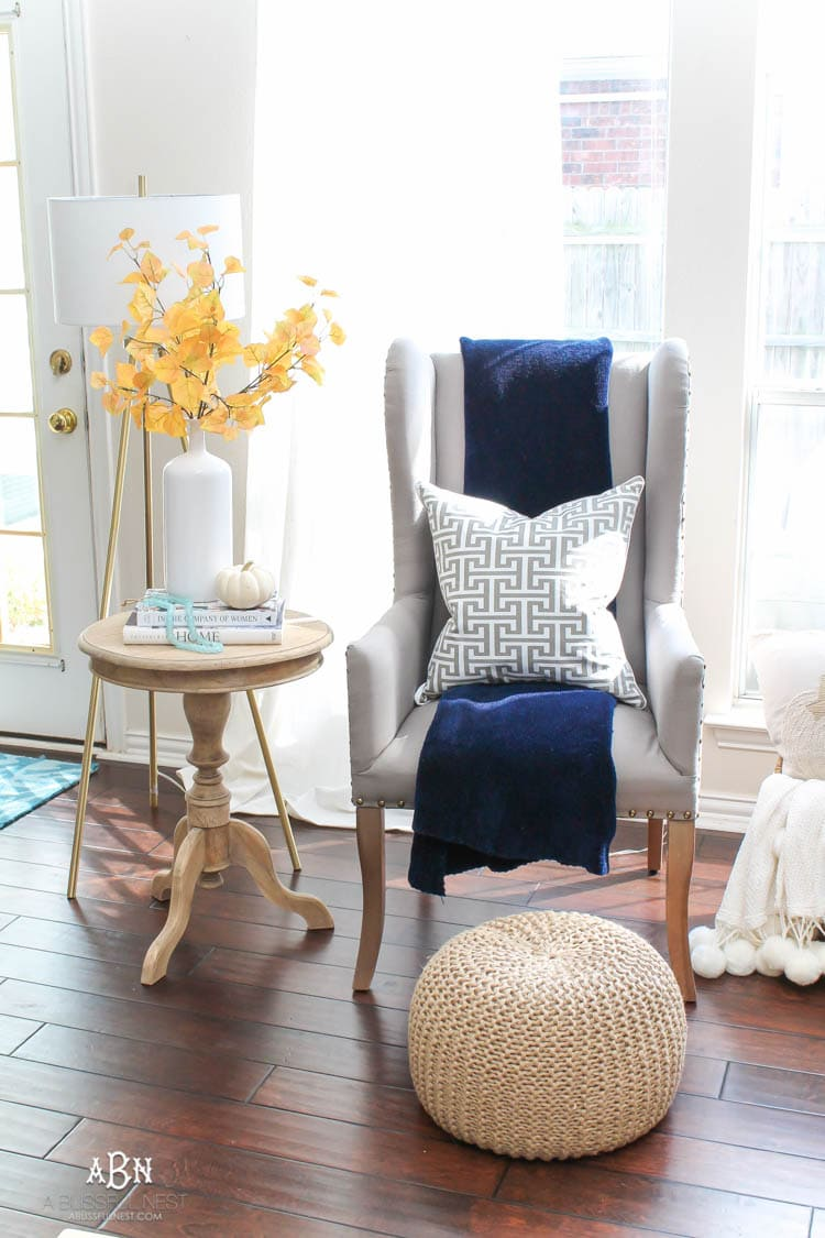 Classic fall touches in this blue and white living room.
