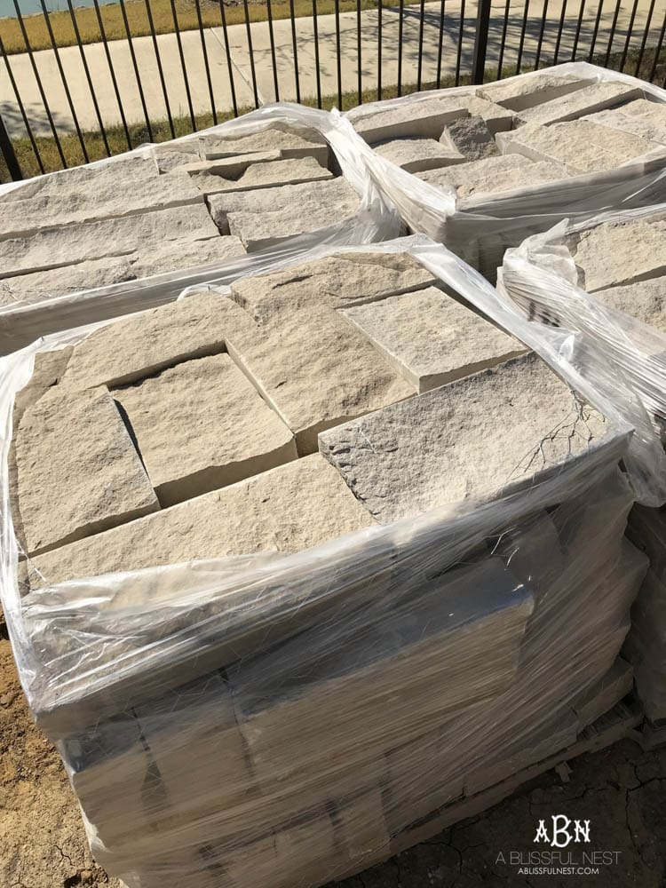 All this stone will soon grace the exterior of our new home! If you're wondering how to choose brick for your home, this is the guide you need - bring together your dream exterior home design!