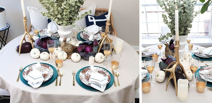Gorgeous glam touches to this Thanksgiving table! #thanksgivingtable #thanksgiving #thanksgivingdeor