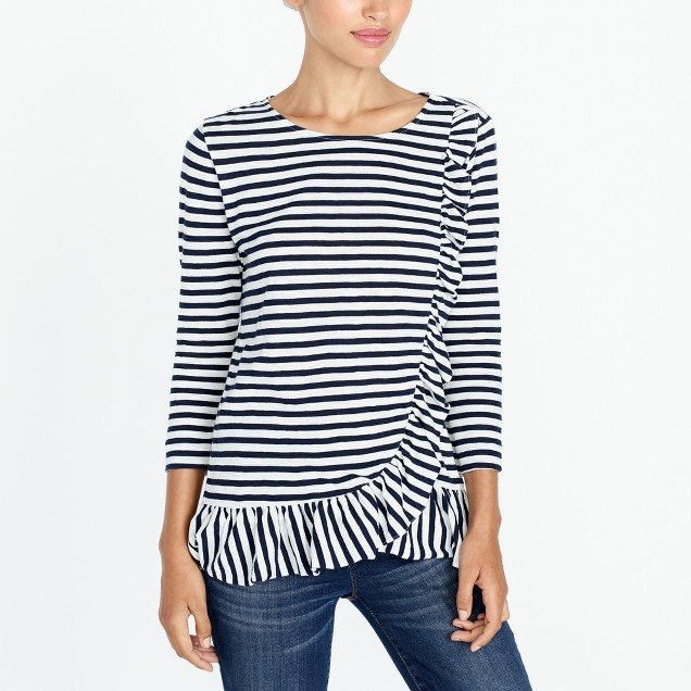 Love the classic stripes with the ruffle! #momstyle #outfideas #style