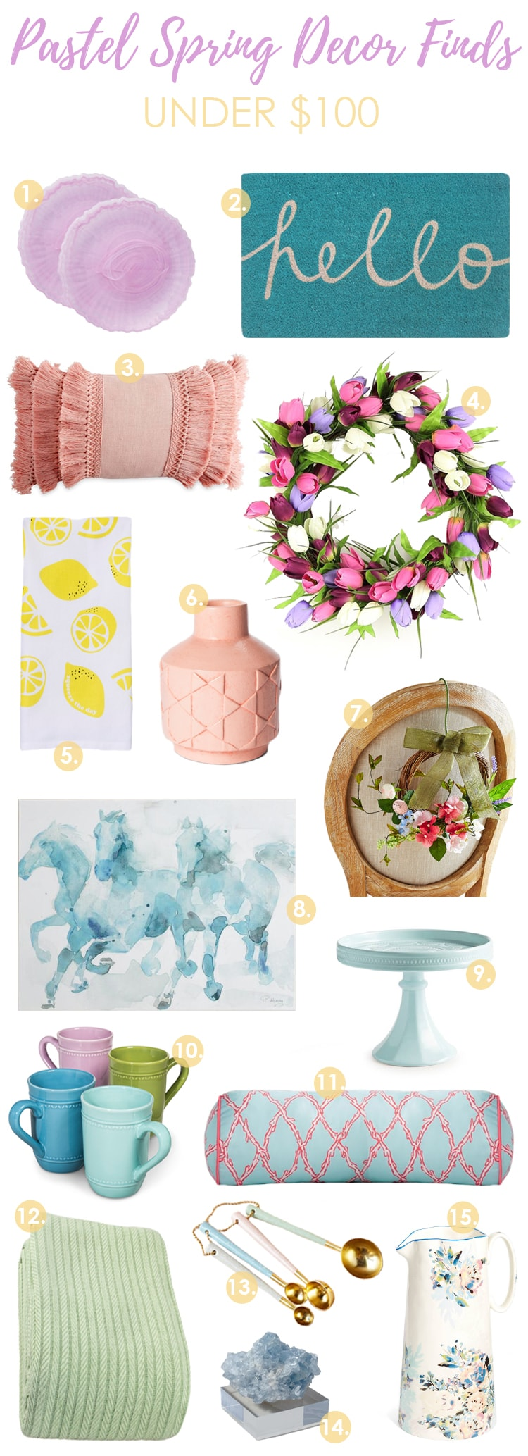 Love all these pastel spring home decor finds to freshen my home this season! #spring #springhomedecor #springdecorating