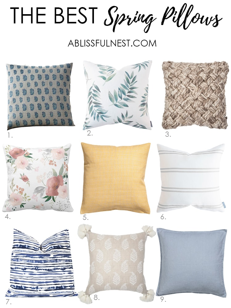 These is the best selection of spring pillows! Love the colors and patterns in all these pillows. #springdecor #springdecorating