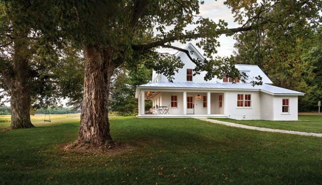 Because this home is in a more woodsy area, painting it white really makes it stand out.