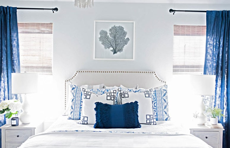 Blue and White Coastal Guest Bedroom Reveal