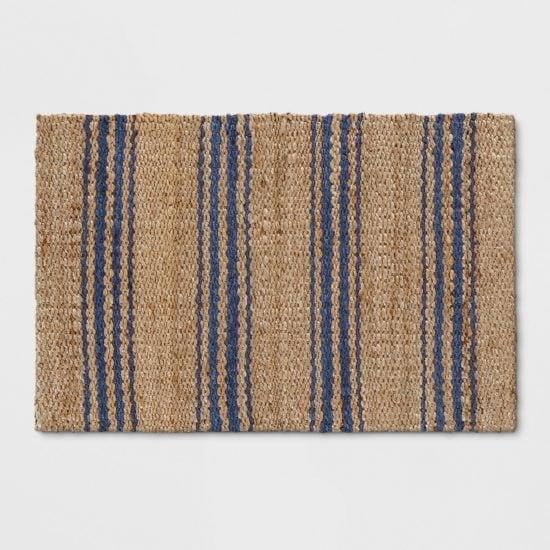Love this door mat and it's preppy navy stripe!