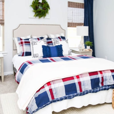Plaid Holiday Guest Bedroom