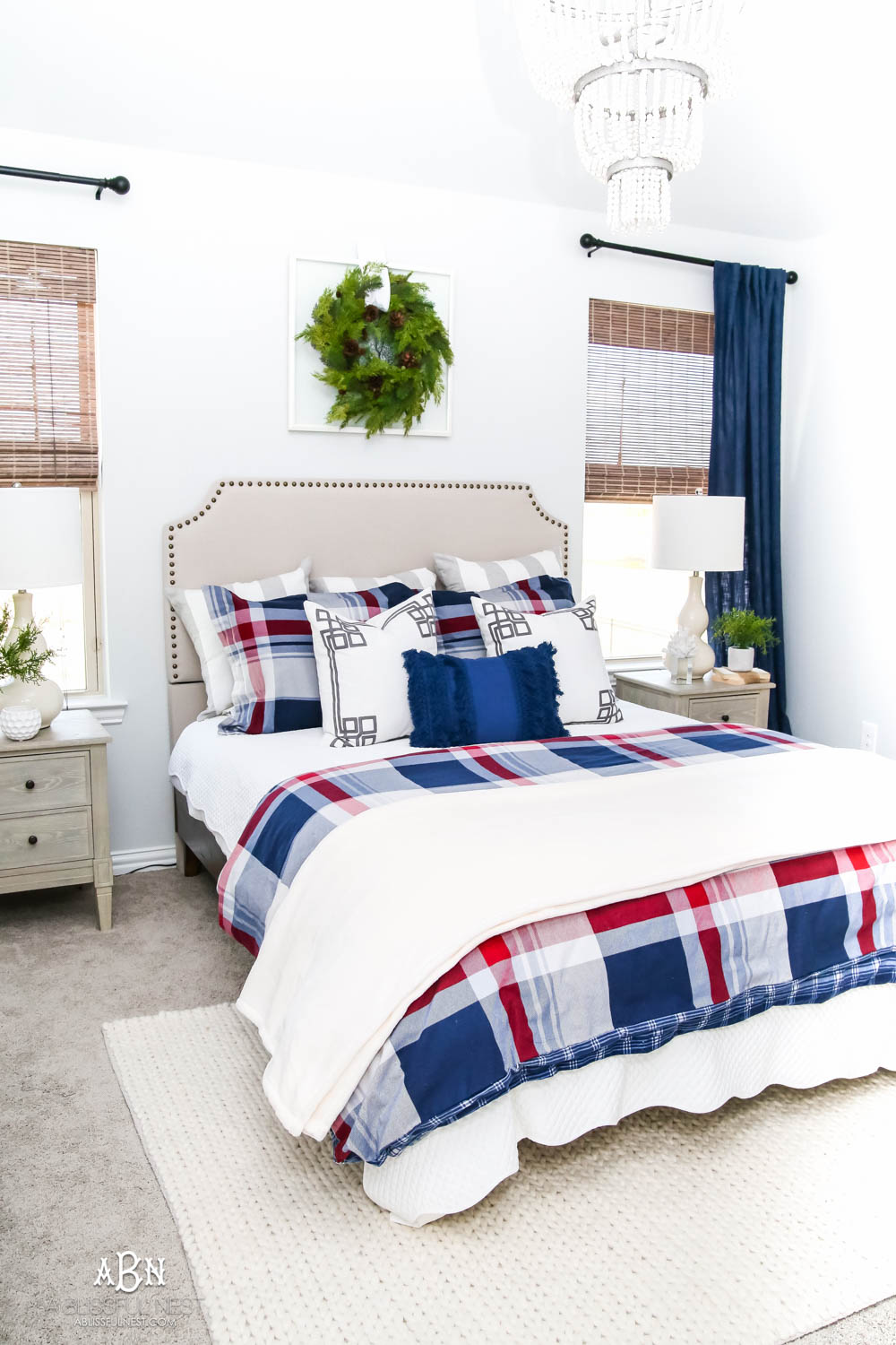 Jazz up your guest bedroom with beautiful plaid bedding and cozy essentials from Kohl's! #ad #WinterBedding #KohlsFinds #guestbedroom #plaid