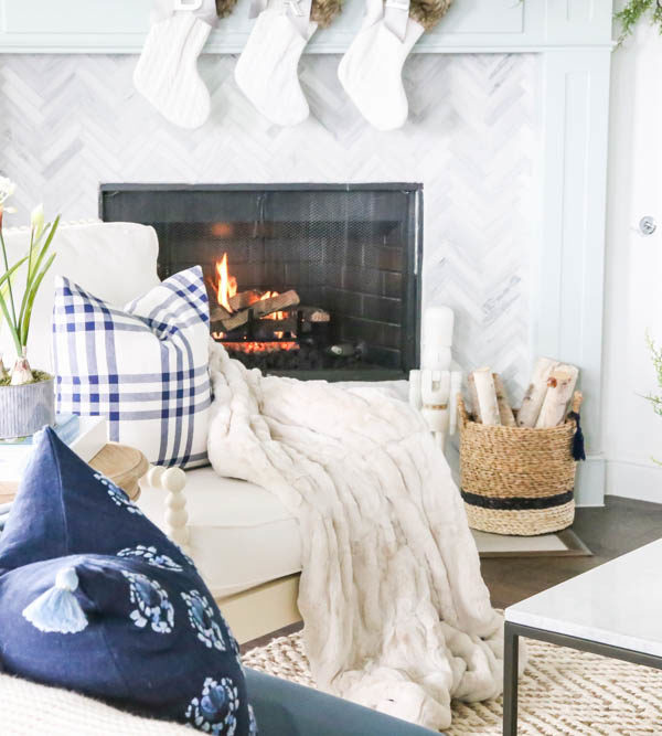 Blue and Silver Christmas Living Room Tour 2018