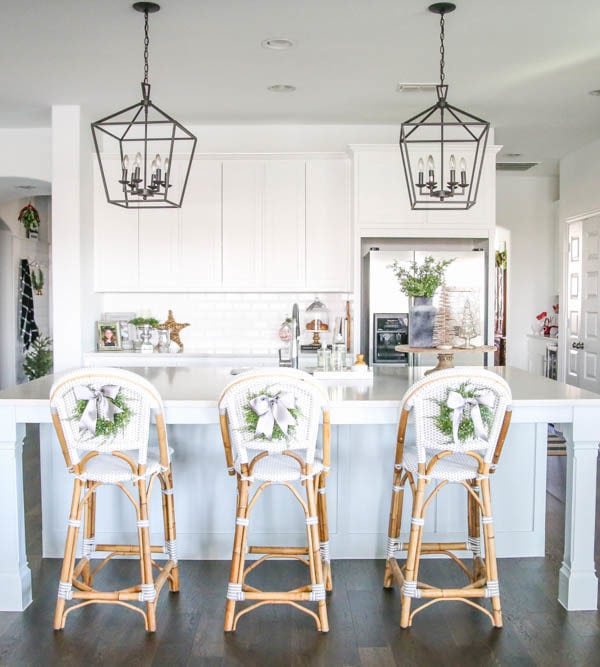 Blue and Silver Christmas Kitchen Home Tour