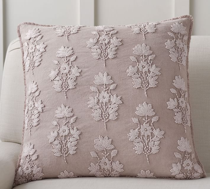 Beautiful soft embroidered pillow in this dusty pink color for spring!