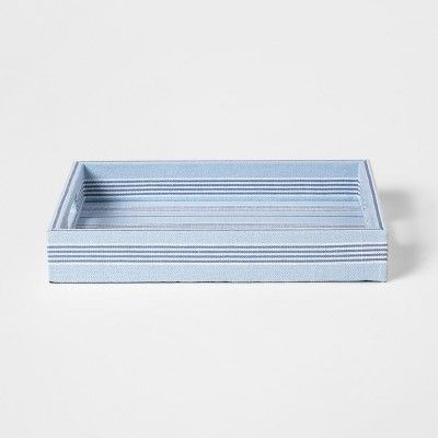 Love the coastal look of this blue linen tray that is under $30!
