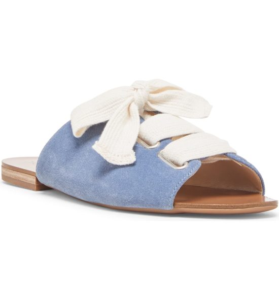 Lace-Up Slide Sandal, Main, color, BLUE JEAN/ CREAM SUEDE Marinn Lace-Up Slide Sandal