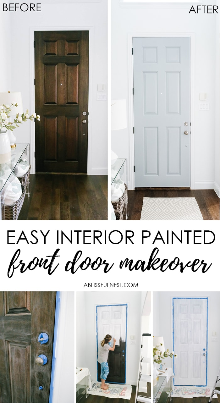 Easy Interior Painted Front Door Makeover by A Blissful Nest