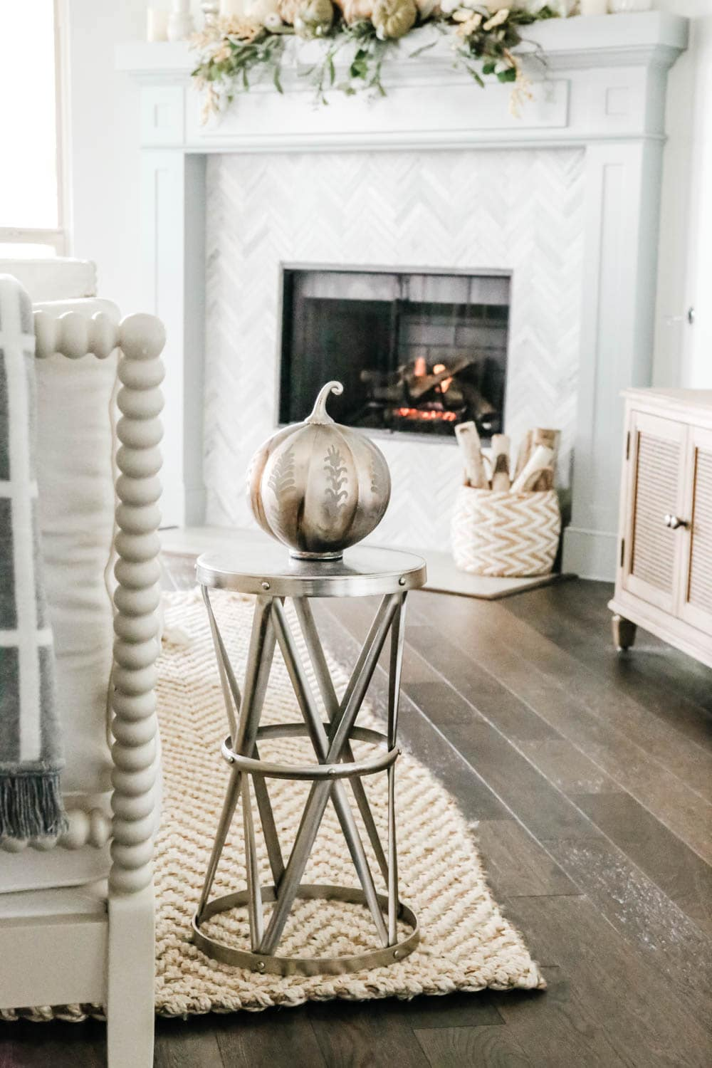 Modern fall decor, metal pumpkin, fall fireplace, fall inspiration. #ABlissfulNest #falldecoratingideas #falldecor #fireplace #pumpkins